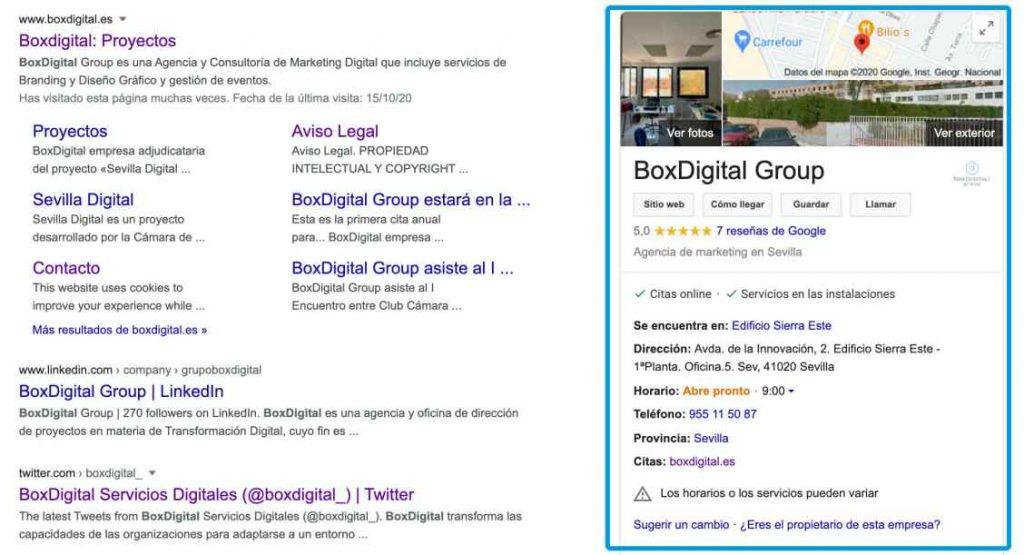 Apariencia de un buscador con la ficha de Google My Business