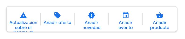 Menú de Publicaciones en la ficha de Google My Business.